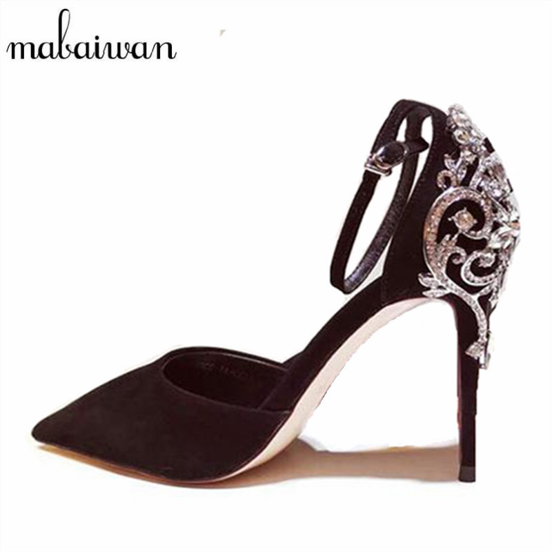 Mabaiwan Elegant Crystal Women High Heels Mary Janes Pointed Toe Women Pumps Wedding Dress Shoes Woman Stiletto Cinderella Shoe 2017 crystal embellished ankle strap runway pump round toe butterfly knot heels shoes woman sexy mary janes shoes real photo