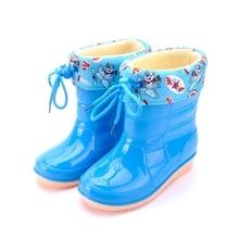Зима плюшевые дождь сапоги дети пвх обувь мультфильм середина сократить дети зимние сапоги водонепроницаемый резиновая мальчики TX143