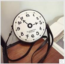 купить 2018 Autumn Ladies Clock Shaped Messenger Bags PU Fun Fashion Circular Vintage Handbags Shoulder Bag Rivet Mini Crossbody Bags. по цене 3130.21 рублей