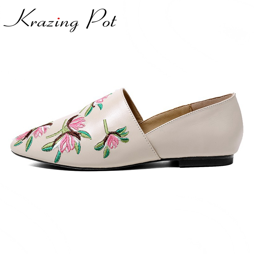 2018 new flats round toe embroidery superstar brand casual genuine leather slip on loafers fashion pregnant women lazy shoes L30 vintage embroidery women flats chinese floral canvas embroidered shoes national old beijing cloth single dance soft flats