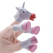 Random Color Newest Cartoon Unicorn Animal Finger Puppet Finger Toy Finger Doll Baby Educational Hand Toy Tell Story(China)