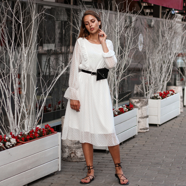 BGTEEVER Ruffles Polka Dot Women Chiffon Dress Elastic Waist Flare Sleeve Female Long Vestidos A-line White Dress 2019 1