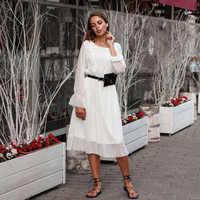BGTEEVER Rüschen Polka Dot Frauen Chiffon Kleid Elastische Taille Flare Hülse Weibliche Lange Vestidos A-linie Weiß Kleid 2019