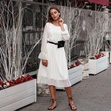 BGTEEVER Ruffles Polka Dot Kadın Şifon Elbise Elastik Bel Flare Kollu Kadın Uzun Vestidos A line Beyaz Elbise 2019