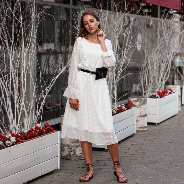 BGTEEVER ראפלס מנוקדת נשים שיפון שמלת אלסטי מותניים התלקחות שרוול נקבה ארוך Vestidos אונליין לבן שמלת 2019