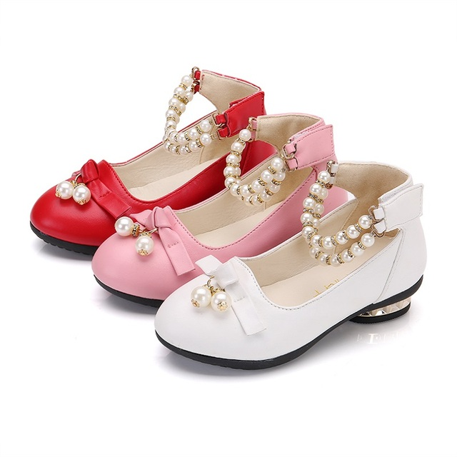 New Girls Shoes Party For Kids Red Shoes Girl Princess Dress Shoes Fashion  Beads Kids Wedges Wedding Children School Shoe Pink d5dd5d05d247