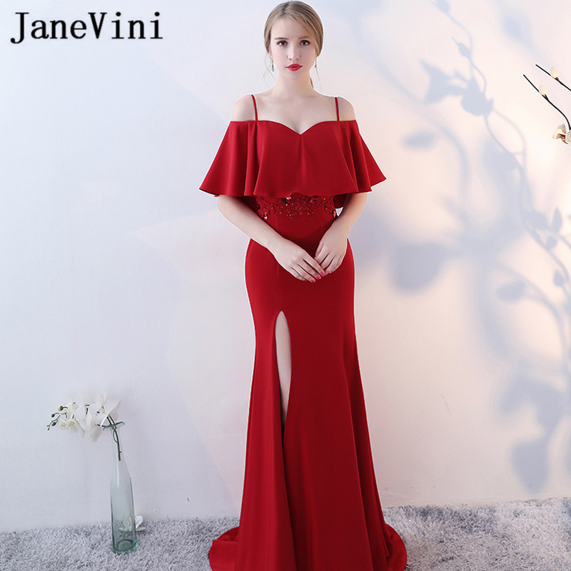 JaneVini Mermaid Plus Size Mother of The Bride Dresses Lace Applique Beaded Spaghetti Straps High Split Formal Red Evening Gowns