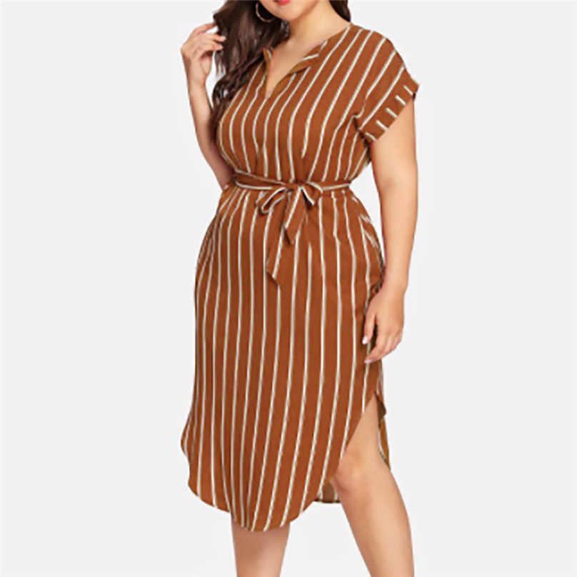 Бандажные полосатые платья, летние повседневные платья размера плюс, с принтом, с коротким рукавом, с поясом, с v-образным вырезом, красочные элегантные женские платья, dames jurken #10