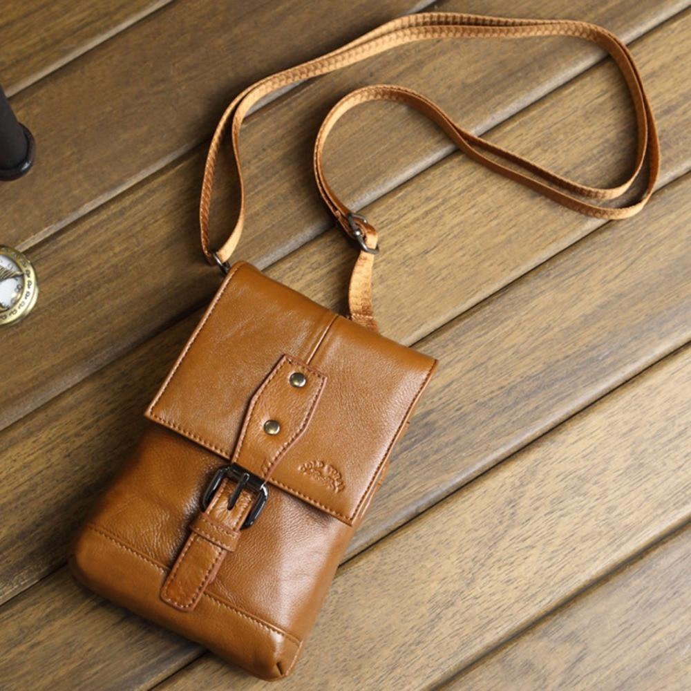 100% Genuine Leather Men Belt Hip Waist Bags Fanny Cross Body Shoulder Skin Male Hook Pack Cell Phone Case Small Messenger Bag