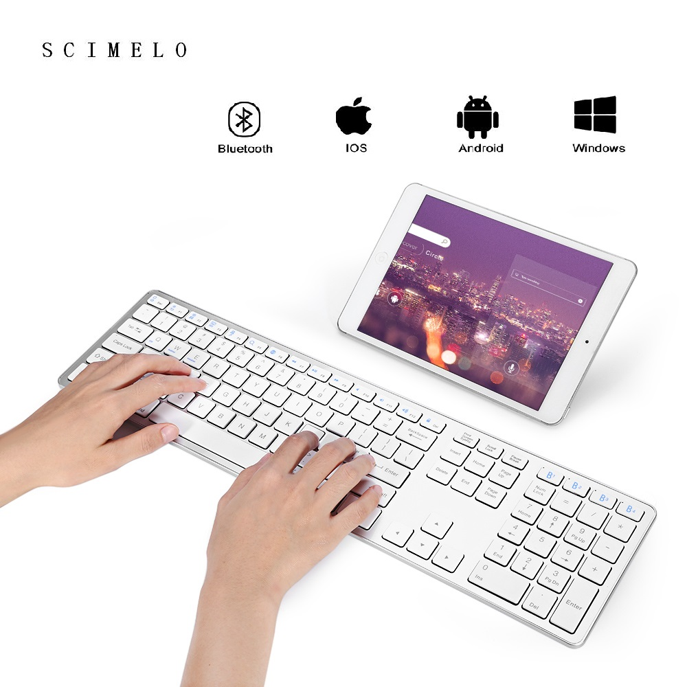 BK418 Wireless Keyboard Bluetooth Ultra Slim White for APPLE iOS Ipad Keyboard A