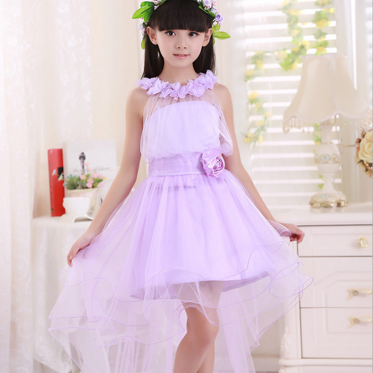 ФОТО 3-14T Flower Girl mermaid dress purple sleeveless flower O-neck princess dance party dresses kids girl Performance dress 100-160