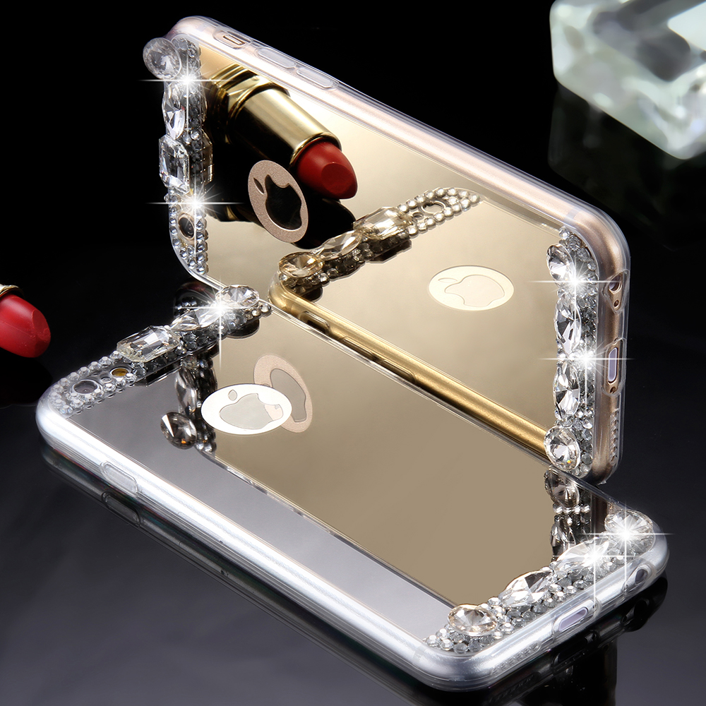 mirror iphone 7 plus case. aliexpress.com : buy for iphone 5s 6 7 case glitter mirror phone bag cases 6s plus 5 se luxury diamond girls women cover from iphone h
