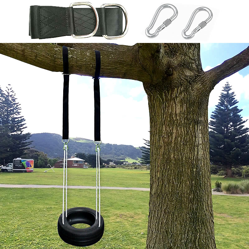 Tree Swing Hanging Kit Hammock Straps, 1800 lbs Load Capacity, Set of 2 Extra Long 10 ft Heavy Duty Swing Straps and 2 Safety nylon hammock tree hanging straps belt kit with 2 hook s rings 3 colors