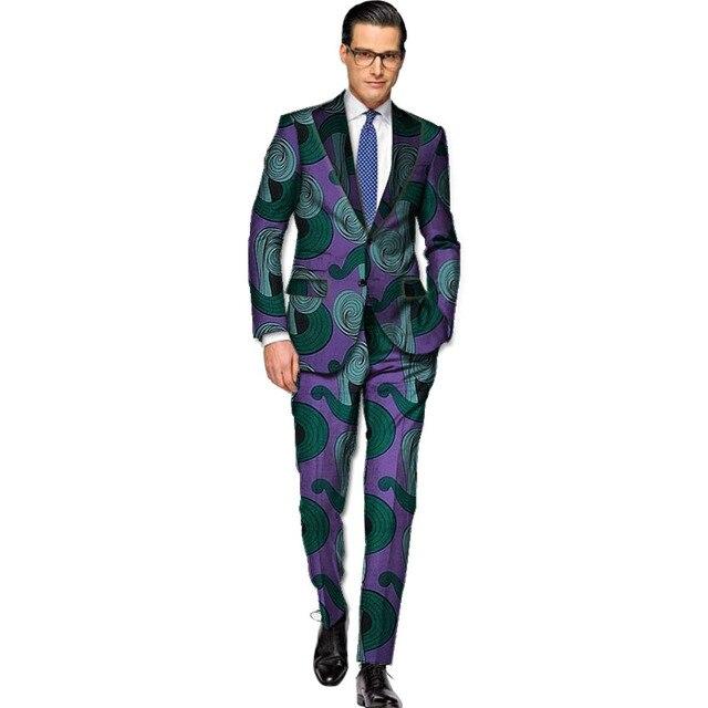 825d284dc4 Homens blazer + calça conjuntos cavalheiros ternos imprimir dashiki africano  áfrica roupas blazers com calças feitas