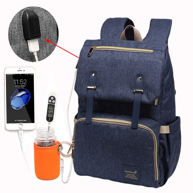 Waterproof USB Charger Laptop Diaper Backpack