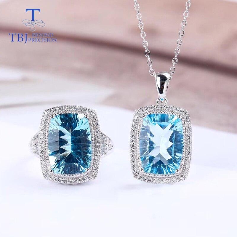 TBJ, grand coussin coupe topaze bleue ensemble de bijoux pendentif et bague 925 en argent sterling bijoux fins ensemble de pierres précieuses pour les femmes avec boîte