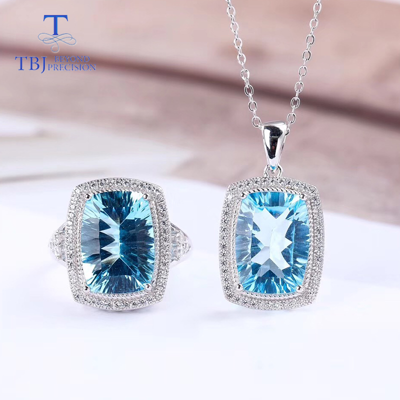 TBJ, Big cushion cut Blue topaz jewelry set pendant and ring 925 sterling silver fine jewelry gemstone set for women with boxTBJ, Big cushion cut Blue topaz jewelry set pendant and ring 925 sterling silver fine jewelry gemstone set for women with box