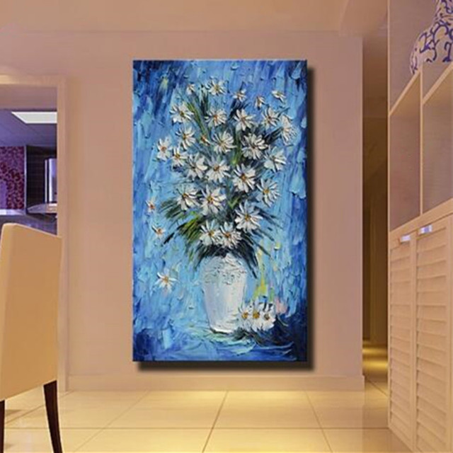 Large Blue Acrylic Floral Paintings Palette Knife Wall Art Picture Home Decor Hand Painted White Flowers & Large Blue Acrylic Floral Paintings Palette Knife Wall Art Picture ...