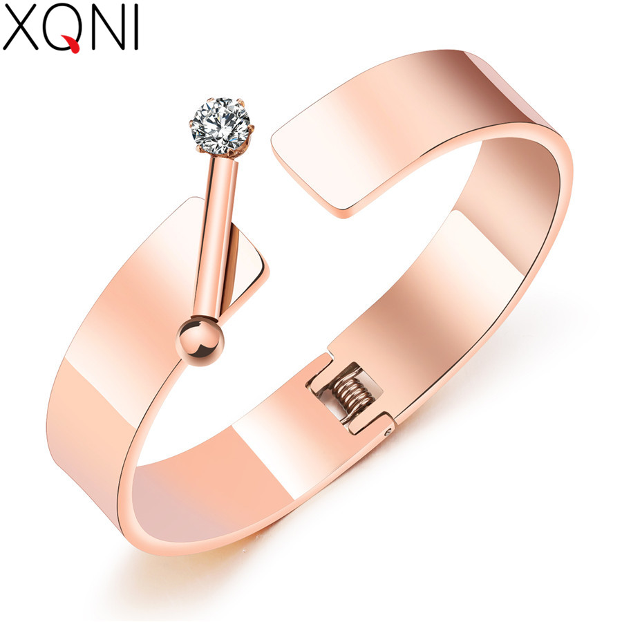 XQNI Top Sale High Quality Fashion Bracelet & Bangle Rose Gold Zircon Stainless Steel Opening Bars Bangle Jewelry For Party Gift