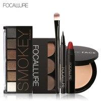 Focallure Make Set met 6 kleuren/palet Oogschaduw Wenkbrauw Eyeliner Gezicht Poeder Matte Lippenstift in een Make Kit