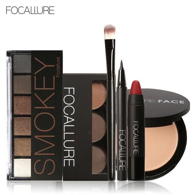 Focallure Makeup Set com 6 cores/paleta Da Sombra Delineador Sobrancelha Pó Facial Batom Matte em um Kit de Maquiagem
