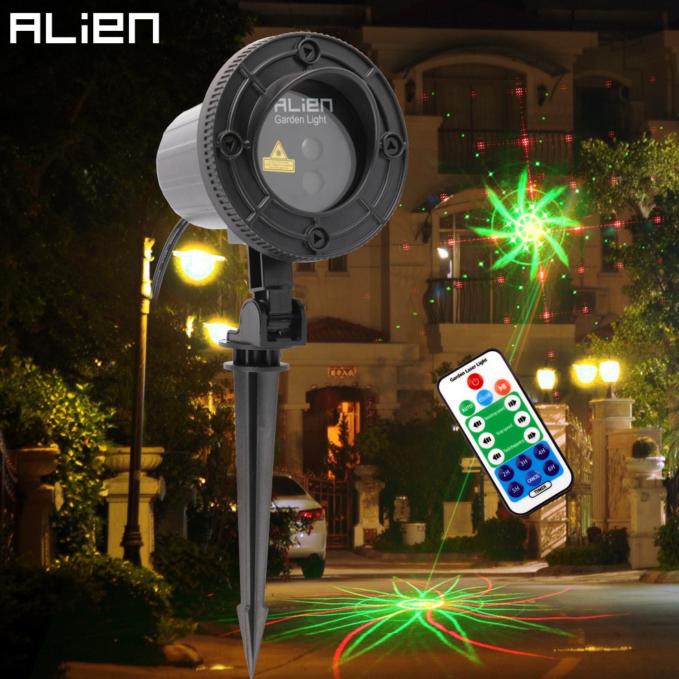 цены на ALIEN RG 8 Built-in Patterns Outdoor Waterproof Laser Projector Light Xmas Holiday Garden Christmas Tree Lighting With RF Remote в интернет-магазинах