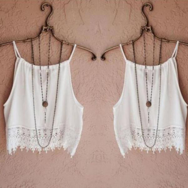 222efc592de44b 2017 New Women White Lace Crop Tops Boho Style Summer Loose Casual Sleeveless  Tank Tops crop top women