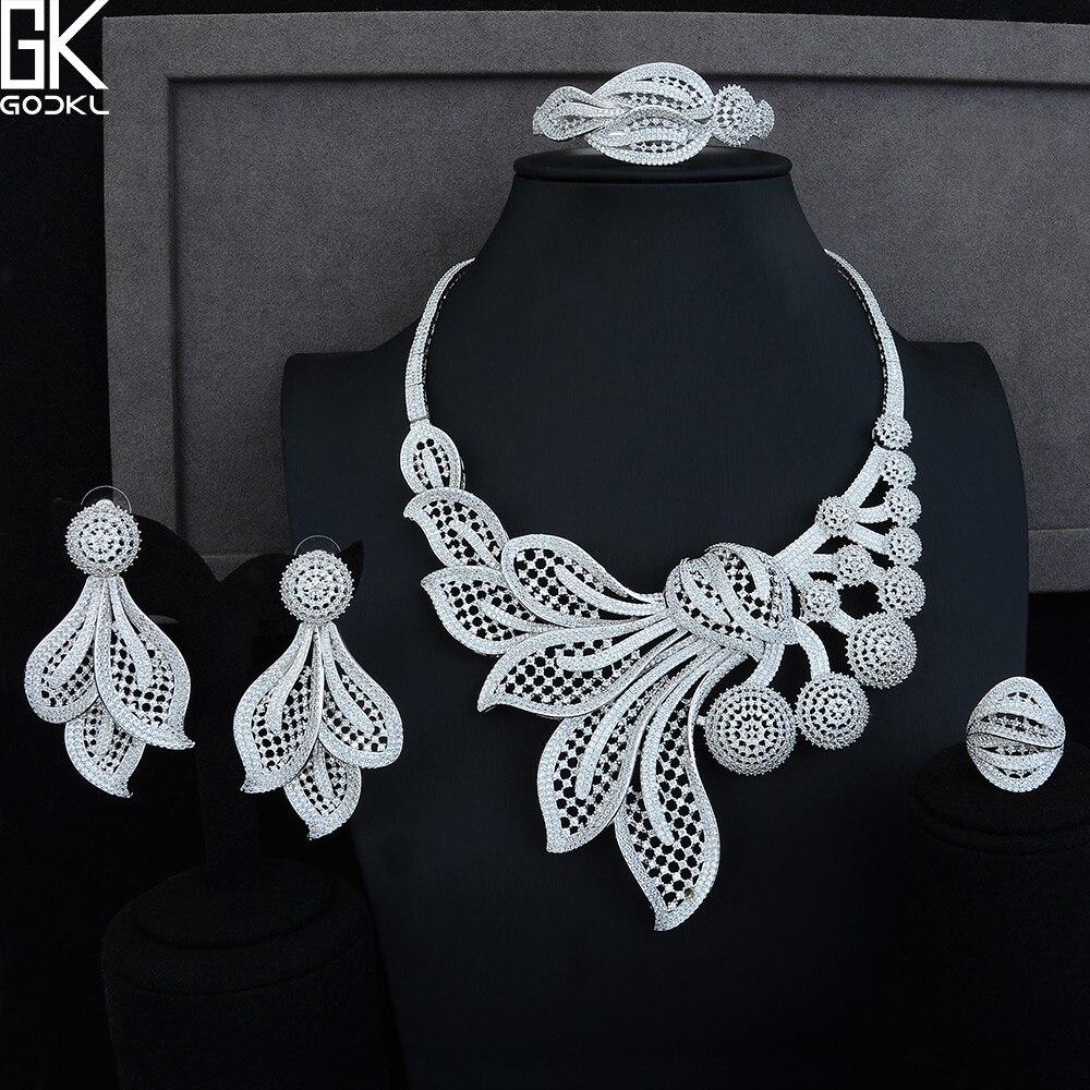 GODKI Luxe Paardebloem Bloem 4 stks Afrikaanse Sieraden Set Voor Vrouwen Wedding Kubieke Zirkoon Crystal CZ DUBAI Zilveren Bruids Sieraden set-in Sieradensets van Sieraden & accessoires op  Groep 1