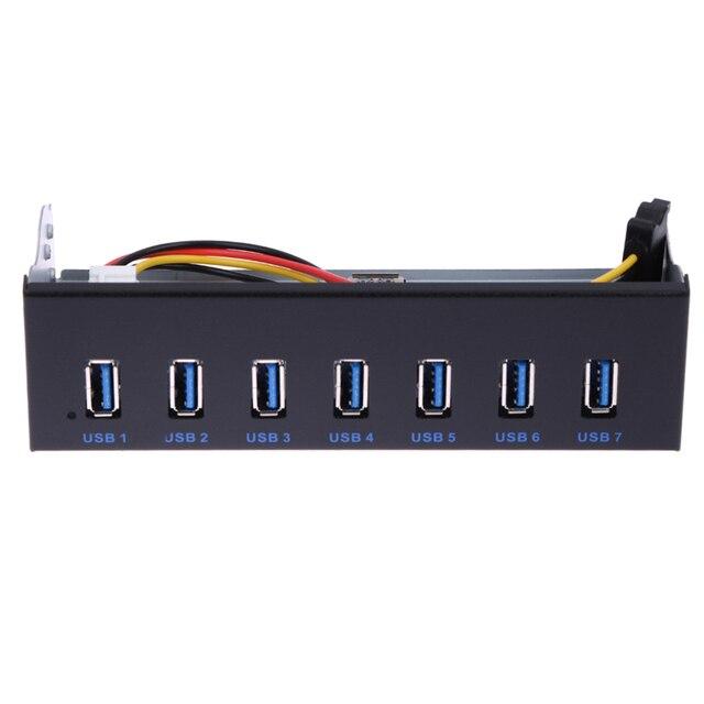 """NI5L 7 Puertos USB 3.0 multi Hub divisor Panel Frontal Interna Combo Adaptador de Soporte para 5.25 """"Bahía de CD-ROM Del Controlador"""