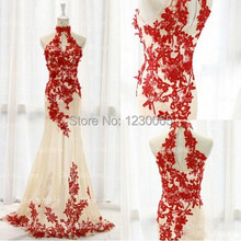 real sample red lace unique sleeveless long tulle elegant inexpensive mermaid prom dresses 2015 free shipping evening gown