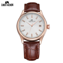 Liber Aedon Leather Strap Sport Men Watches Gold Top Brand Luxury 2017 Quartz Military Waterproof Time Date Clock Watch for Men