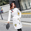 Korean New Fashion Women Winter Cotton Down jacket Stand collar Thick Warm Coat Elegant Slim Big yards Medium long Coat G2170