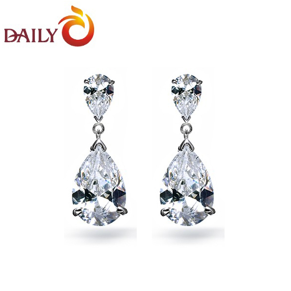 Dangle Earrings For Women Silver Tone Double Teardrop Swiss Cz Diamond Drop Bridal Jewelry Daily