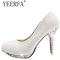 Para ile YEERFA Külkedisi cam terlik sivri topuklu deri rhinestone sequins nedime düğün ayakkabı ile ince