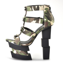 Pink Palms summer women shoes high heels wedge sandals blue camouflage bullet decoration sexy punk party sandals