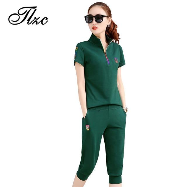 99b3c5ff2fb TLZC New Summer Woman Tracksuit Clothing Set Slim Sportwear Suit Plus Size  M-4XL Women 2 Piece Set Costumes Polo Shirt + Pants