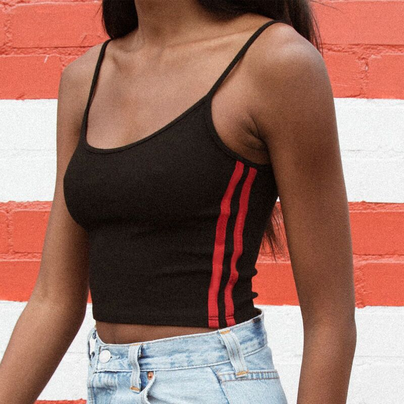 2018 Summer Wome Sexy Camis Side Striped Patchworks Crop Camisole Tank Tops Girls Casual Short Top Vest Beach Vest