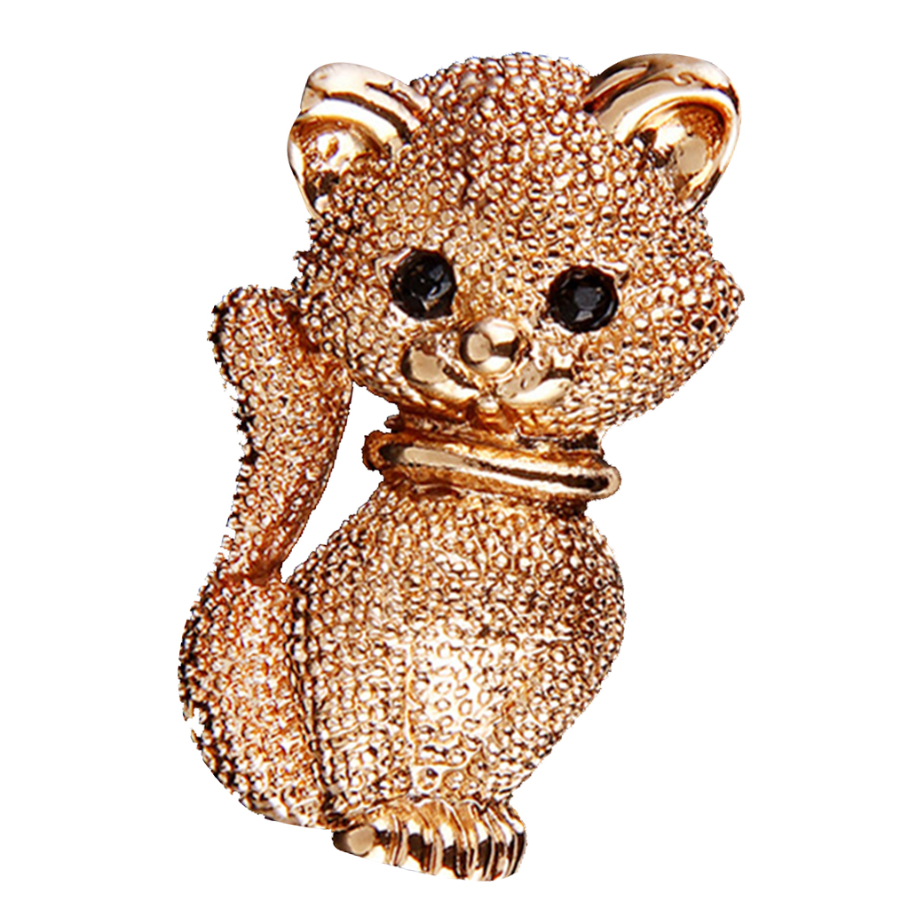 Women Costume Jewelry Gold Cat Animal Brooch Pin Suit Hats Clips Corsages
