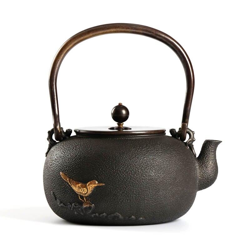 Японский Tetsubin чугун чайник с фильтром, Медь крышкой и изоляции ручка, древних китайский чайный сервиз, 44 унц. (1.3l)