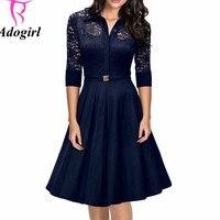 Black Blue Women Floral Lace Rockabilly Vintage Dress 1950S Elegant Turn Down Collar Evening Party Black Sexy Swing Dresses