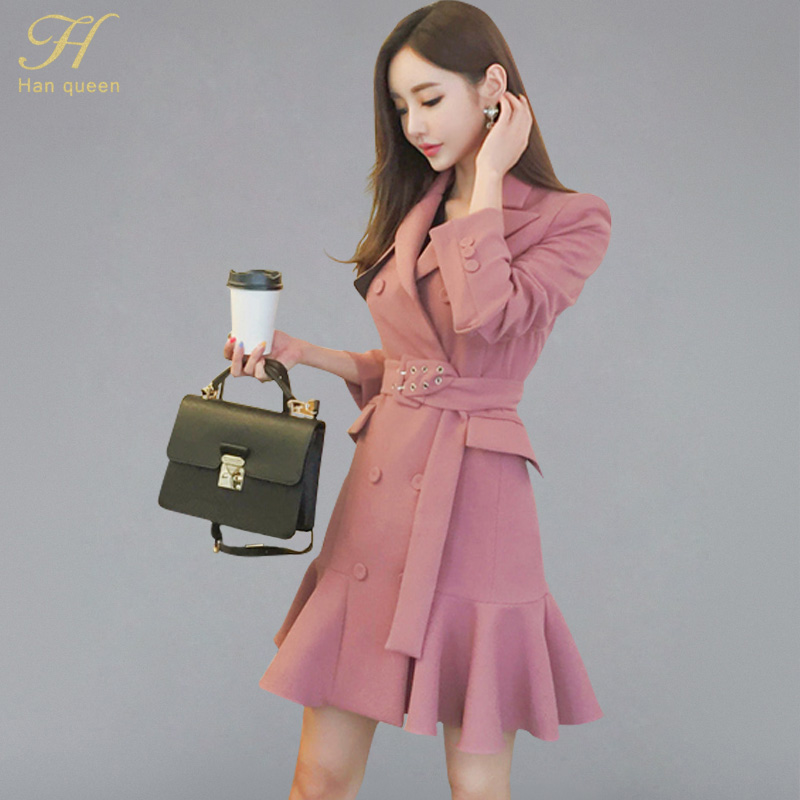 adf5bf4540e7 H Han Queen Korean Elegant Double-breasted Suits Dress Women Autumn Winter  Belted Waist Mini