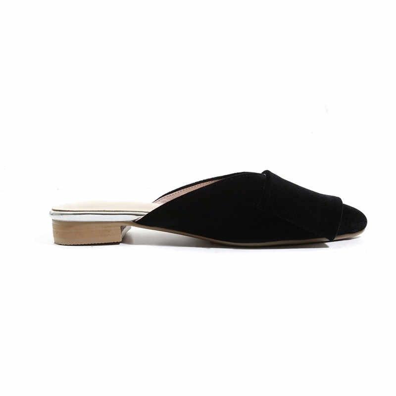 MEMUNIA 2019 yeni varış kadın terlik kadife zarif parti düğün ayakkabı bayanlar ilmek yaz ayakkabılar düşük topuklu büyük boy 43