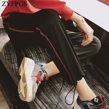 ZYFPGS 2019 Sweatpants Black Cropped Pants Red lines Pants For Women Hip Hop Fashion Korean Pop Stretch Knit Fabric Loose Z1118