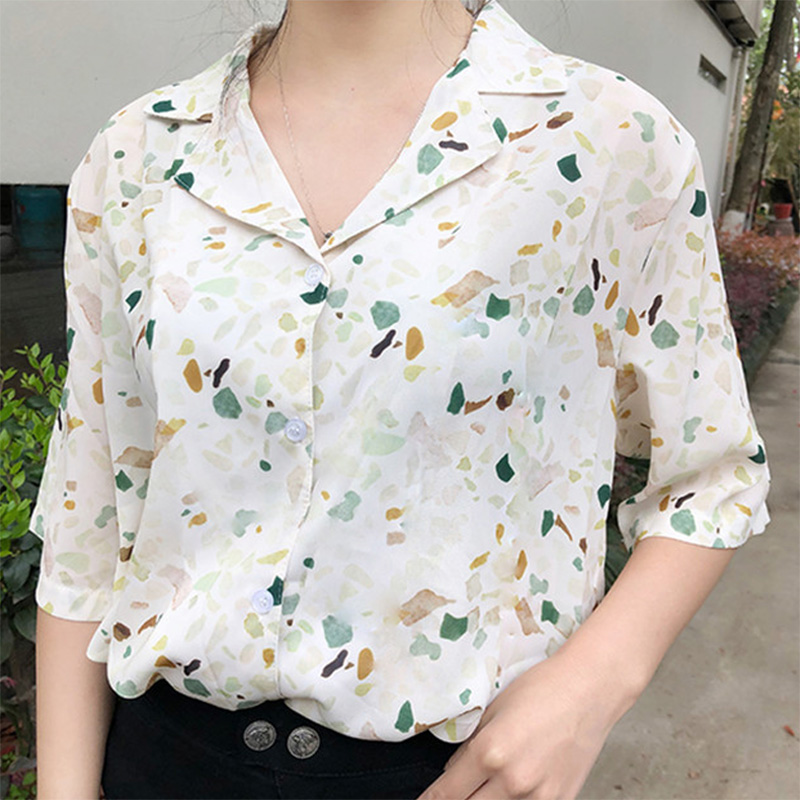 Summer Flower Print Short Sleeve Shirt Girls Shirts Blouse Kids Summer 2019