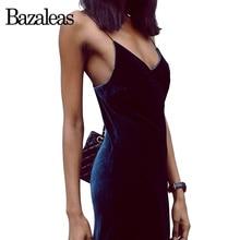 Bazaleas 2017 Velvet Camis Dresses V neck Long Dress Brand Quality For Women Fashion Split Women Party Dress Sexy Dresses