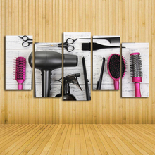 Фотография HD 5 Piece Canvas Wall Art Hair Dryer Machine Comb Hairdressing Tool Paintings Modular Wall Picture Hairdressing Shop Wall Decor