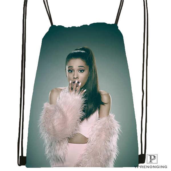 Custom Ariana Grande (8)  Drawstring Backpack Bag Cute Daypack Kids Satchel (Black Back) 31x40cm#180612-03-Ariana