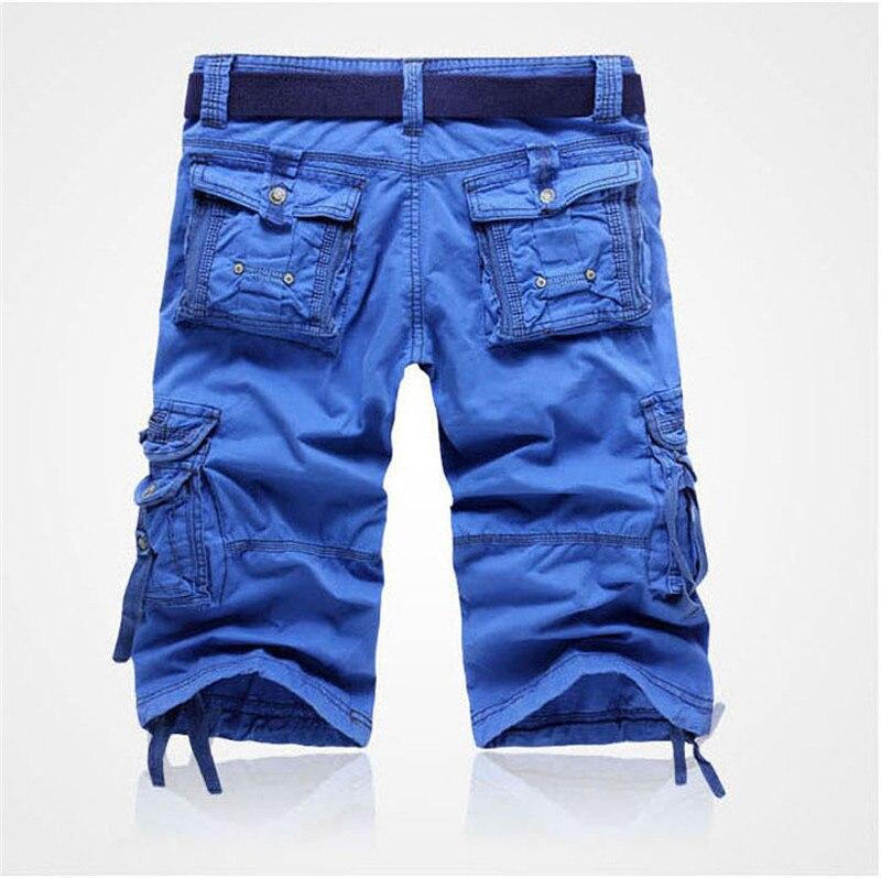 Для мужчин грузовые шорты камуфляж Multi-карман мужской короткие комбинезоны Повседневное молнии военная форма длиной до середины икры корот...