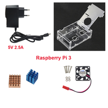 Raspberry Pi Acrylic Transparent Case Clear Box + Cooling Fan + 5V 2.5A Power Charger + Ceramic /Aluminum Heat Sink