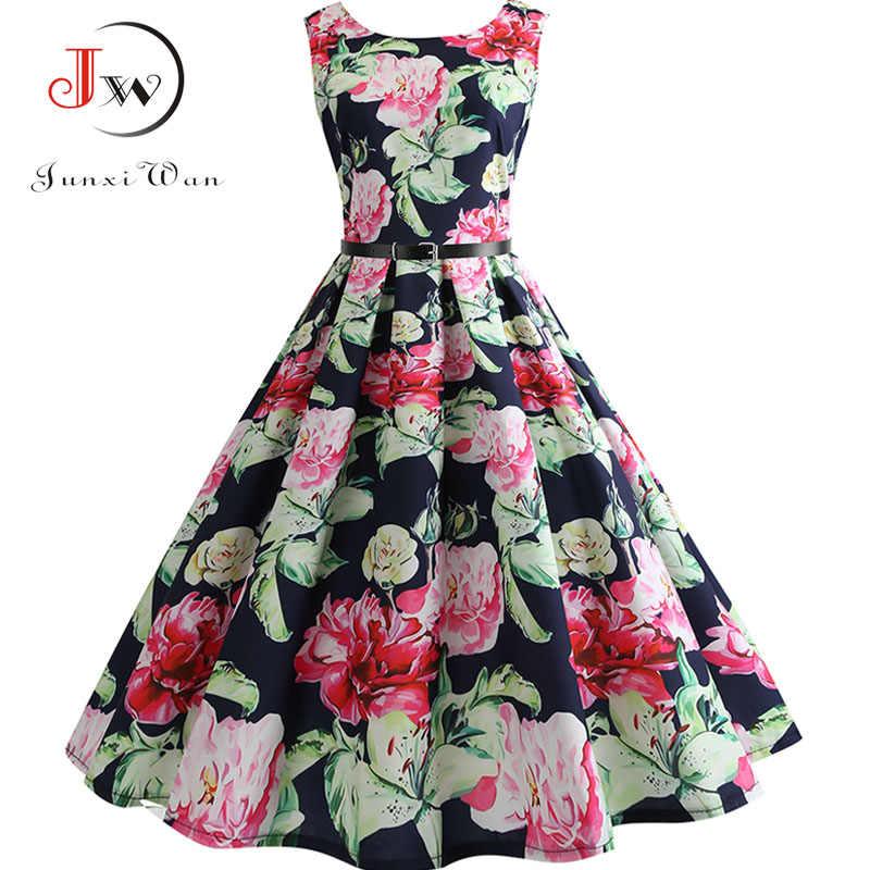 c15eab6073082 New Women Vintage Dress Plus Size Floral Print Pin Up Summer Dresses Retro  50s Rockabilly Party Sundress Feminino Vestidos